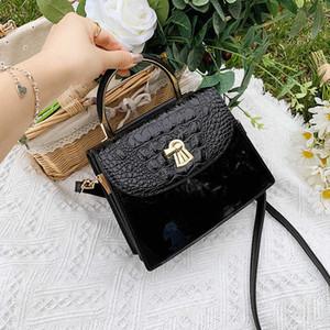 Women's 2020 new fashion small square patent leather crocodile handbag swivel lock Single Shoulder Messenger bag