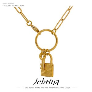 Statement Key Lock 18K Pendant Necklace Charm Metal Stainless Steel Collar Chain Cool Jewelry 2021