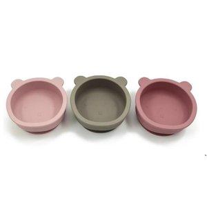 سيليكون عاء الطفل تغذية المائدة الدب شكل لوحة مع عدم الانزلاق مصاصة الرضع الطفل وعاء الأطباق DWC6639