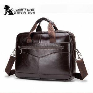 LAOSHIZI LUOSEN Mens Genuine Leather Bag Briefcase Messenger Bag Men Leather Work Bolso Hombre 91504 a4yH#