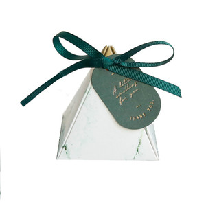 Triangle Diamond Marbling Wedding Gift Box Paper Candy Boxes Baby Shower Chocolate Packaging for Party Decoration