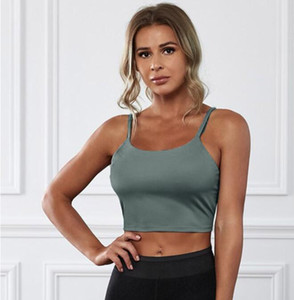 Solid color sling sports back chest clothing wireless Tight short yoga top young women 3 4 cup Fix the shoulder straps green 264040