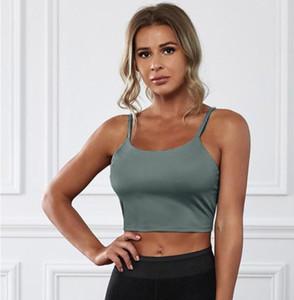 Sling de color sólido deportes trasero ropa torácica inalámbrico apretado yoga top mujeres jóvenes 3/4 taza fijan las correas del hombro verde 264040