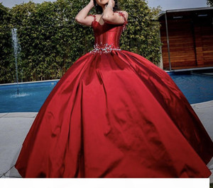 Burgundy Princess Quinceanera Dresses 2021 Sweet 16 Ball Gown Beaded Debutante Gowns Tulle Vestidos De 15