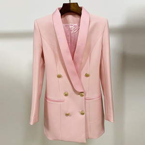 New Luxury Women Blazers Lion Head Golden Button Double Breasted Suit Jacket Female Slim Long Business Blazer Coat OL Formal Suit Coats E25