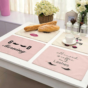 Eye Lash Letter Pattern Cotton Linen Pad Dining Table Mats Bowl Cup Mat Pattern Kitchen Placemat Home Decor ML0017