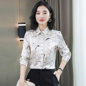 New Quality Elegant Printed Satin Silk Shirt Plus Size Spring Fall Winter Women's Designer Tops Slim Party Prom Office Ladies Runway Blouses