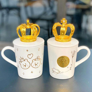2020 NEW Starbucks Valentine's Day 3D Golden Crown Bear mug White mermaid Gold bronze ceramic coffee cup 340ML gift
