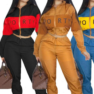 2Pcs set Women Tracksuit Suit 2021 Sweatshirt and pants Zipper Women Crop Tops Trousers Casual 2 piece set Womens outfits