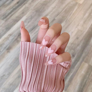 24pcs False Nails With A Pattern Peach Heart Wear Finished Nail Tablet False Nail Removable Manicure Beautiful Nails