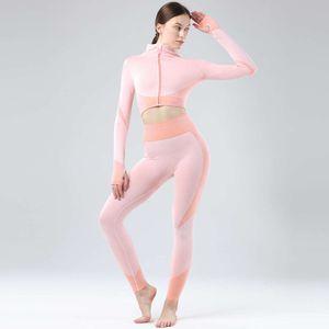 Tight skirt fitness Long Capris sleeve top thumb hole Yoga zipper suit outdoor sports running Designer