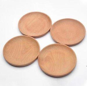 Круглая деревянная тарелка блюдо десертное печенье плиты блюдо фрукты блюдо блюдо чай серверный поднос древесины чашка держатель чаша шиповник посуда коврик dwf5458