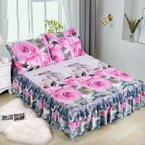 2pcs Skirt + 1pc Pillowcase Bedding Set Bed Sanding Soft Bedspread King Queen Size Double Layer Bed Skirt
