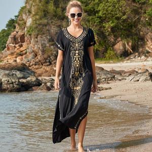 Vestido largo de manga de batwing de gran tamaño Bordado negro con cuello en V manga corta Vestido de playa de verano más túnica Mujeres Playa Ropa de playa