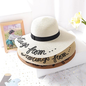 New Summer Do Not Disturb Sequin Letter Wide Brim Sun Hats For Women Beach Vacation Fashion Girls Straw Hat