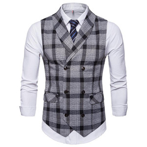 New Classic Plaid Suit Vest Men Slim Fit Double Breasted Vest Waistcoat Mens Business Wedding Tuxedo Gilet Homme