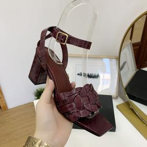 Sandale de talon chunky moyen de luxe, cuir de la femme à talon à talon à talon à talon plat du talon plat 6,5 cm de grains de pierre