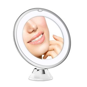 10X Magnifying Makeup Vanity Mirror with Lights, LED Lighted Cosmetic Magnification Light Make up lens White Lighting for Home Tabletop Bathroom Shower
