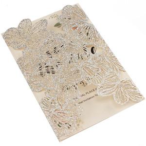 Free Shipping 1X Silver Glitter Leaf Hollow Flower laser cut pocket invite wedding invitation card greeting Envelope customize