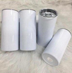 20oz sublimação canecas em linha reta canecas Skinny Tumblers em branco Branco Slim Slim Copos de Aço Inoxidável 20 Oz Vácuo Isolado Duplo Walled e Plástico Palha