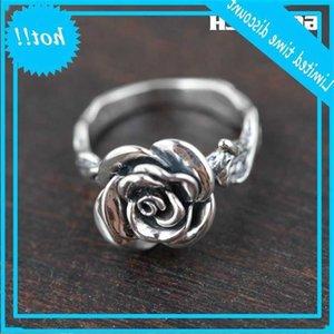 GQTorch Real Pure 925 Sterling Vintage Rose Blume Für Ringe Frauen Thai Silber