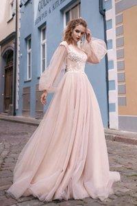 2021 Vintage Milva Beach Blush Pink Wedding Dresses Long Sleeves V Neck Lace Appliqued Boho Wedding Gowns Bohemian Hollow Back Bridal Dress