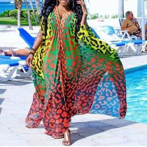 African Summer Chiffon Elegant V-neck Single Breasted Dress