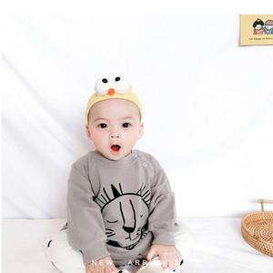Wholesale 2021 New Korean Style Spring Baby Boys Girls 2-pcs Sets Bodysuit Cartoon Lion Top + Star Pants New Born Clothes E3065