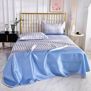 1pcs Flat Sheet Ice Silk Cotton Printing Blue Bedding Sheet High Quality Summer Type Queen King Size Bed No cases