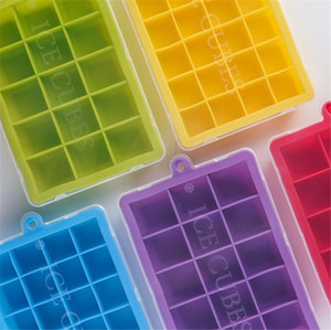 New Dining 15 Grid Food Grade Silicone Ice Tray Home with Lid DIY Ice Cube Mold Square Shape Ice Cream Maker Kitchen Bar Accessories