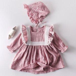 Baby Girl jumpsuit Spring Autumn Newborn Clothes Princess Lace Long sleeve Dress Romper +Hat 2Pcs Suit 210315