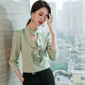 Women Blouses Shirts Long Sleeve Shirt Autumn Winter Formal Elegant Styles Ladies Tops Blouse Business Work Wear Clothes
