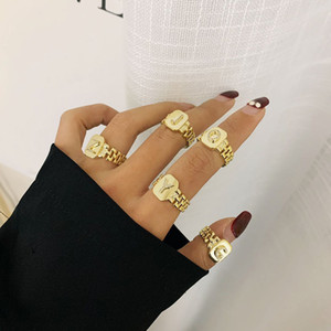 Newest Style Fashion Gold Color Chain Ring for Women A-Z Letter Adjustable Opening Ring Jewelry Femelle Bague
