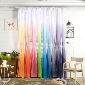 Curtain & Drapes 1 Pc Tulle Curtains 3d Print Kitchen Decoration Window Treatment American Living Room Divider Sheer Voile Single Panel1.