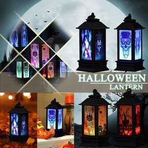 Party Decoration Halloween Led Candles Tea Light Vintage Castle Pumpkin Ghost Hanging Lantern Lamp Home Supplies