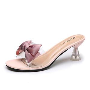 2021 Summer Sexy Transparent Bow Summer Sandals Slipper Women High Heel Shoes Female Casual Flower Slipper Slides Women Shoes 40