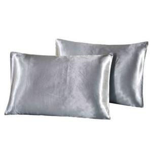20 * 26 pulgadas de seda almohada de satén casero multicolor hielo seda de la almohada con cremallera cubierta de almohada doble cara sestre capa de almohada R2021