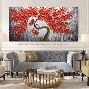 Hand painted flower oil painting, abstract hand-painted art, modern golden tree oil painting, living room home decoration.
