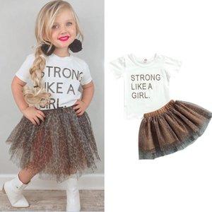 Clothing Sets 1-6 Years Kids Girls Summer Set Letter Print O-Neck Short Sleeve Tops+ Leopard Midi Skirt Infant Outfits