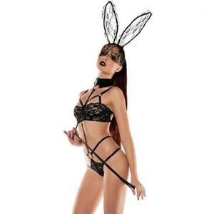 Sexy Set Bunny Girl Lace Perspective Three Point Type Underwear Sexy Womens Underwear EU Designer Women