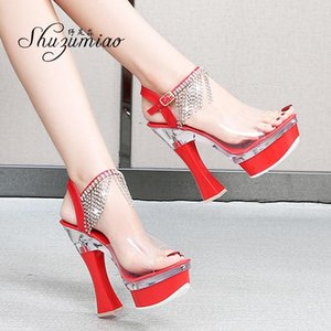 Shuzumiao Heels Women Bride Shoes High Heels Platform Transparent Sandals Women Stripper Pole Stiletto Sandals 2021 New Summer