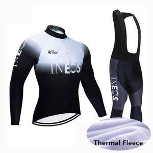 Inéos cyclisme hiver thermique thermique maillot jersey bibs pantalons sets en jersey cycliste costume vélo à vent vélo vêtements vêtements portables Y21031318