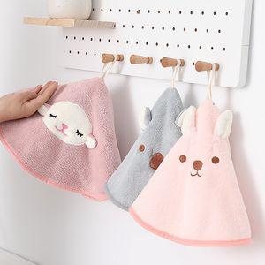 Children's cartoon cute wipe towel cartoon hanging kitchen absorbent dry towel thickened lazy wipe towel