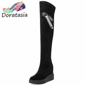 Doratasia New Big Size 32 40 Fashion Thigh High Stivali Altezza crescente piattaforma scarpe donna sexy partito sopra gli stivali del ginocchio escursionismo boo o0fa #