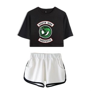 Riverdale south side serpents Two Piece Set Summer Printed Sexy 2021 3D Printed T shirt New Suit Shorts Crop women Fashion