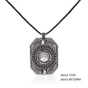 Skyrim Wicca Tree of Life&Phoenix Pendant Necklaces Adjustable Rope Chain Men Nordic Talisman Necklace Fashion Jewelry