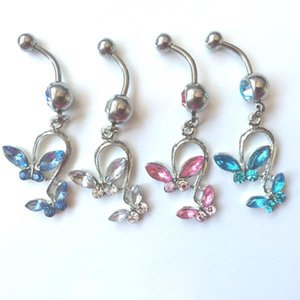 D0053 ( 5 colors ) bowknot style Belly Button Navel Rings Body Piercing Jewelry Dangle Accessories Fashion Charm (10PCS LOT)JFB-7212