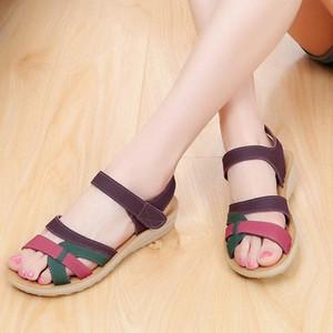 McCkle Fashion Women Sandalias Tallas grandes Tamaño Femenino Cuñas Zapatos Color Mixto Color Casual Plataforma de verano Tacón Ladies Hook Loop Foreswear I0JV #