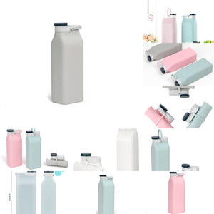 with 600ML Milk Portable Collapsible Lid Foldable Drinking Large Capacity Outdoor Silicone Folding Water Bottle RRA3226 OR7C