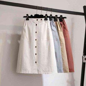 Single-button Korean Womens Skirts High Waist Casual Midi Women Cotton Blue Female Beige Skirt